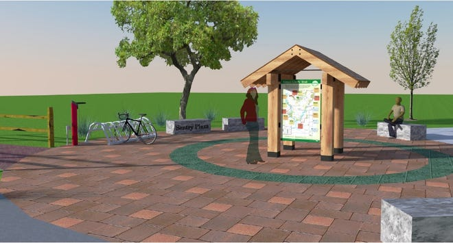 Pictured is a rendering of the proposed plaza, which will serve as a trailhead facility for those wishing to visit the 27-mile Green Circle Trail. The plaza is planned to be located in Schmeeckle Reserve.