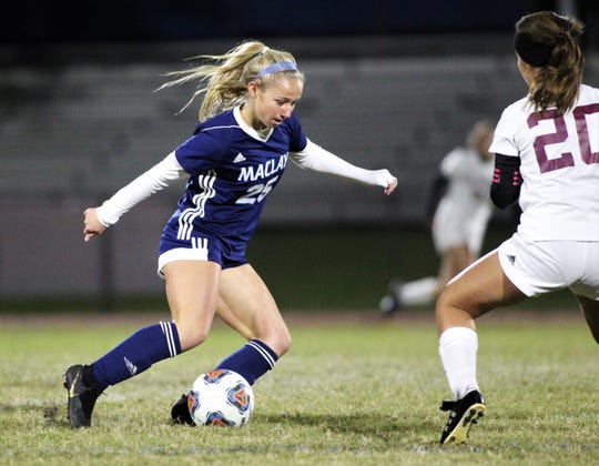 Maclay junior Katelyn Dessi dribbles in the midfield as Maclay beat Florida High 2-0 on Dec. 2, 2019.