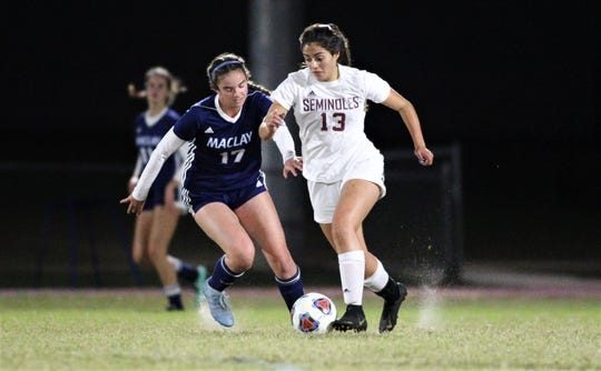 Florida High junior Jailyn Castro dribbles out of danger as Maclay beat Florida High 2-0 on Dec. 2, 2019.