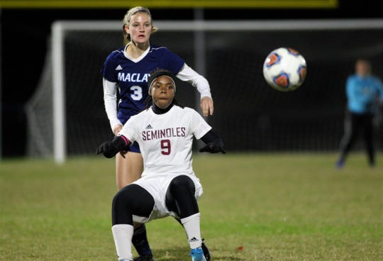 Florida High senior Janae Scott boxes out Maclay's Kate Smith as Maclay beat Florida High 2-0 on Dec. 2, 2019.