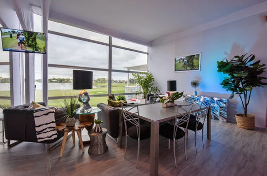 Private and semiprivate spaces are available for entertaining colleagues and friends.