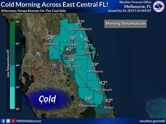 Morning temperatures Dec. 3, 2019.