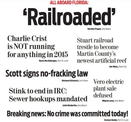 A collection of headlines readers submitted in 2014 they wanted to see in 2015, as published in Treasure Coast Newspapers Dec. 28, 2014.