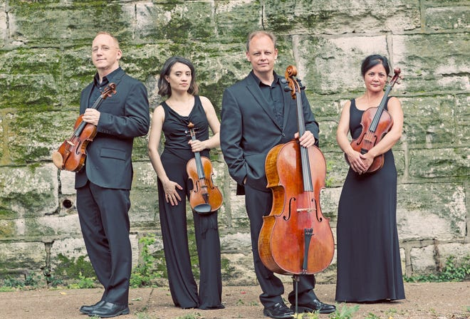 The Arianna String Quartet's John McGrosso, from left, Julia Sakharova, Kurt Baldwin and  Joanna Mendoza will perform with pianist Michele Levin Dec. 8 at the Logan House at Beatrice Wood Center for the Arts in Ojai.