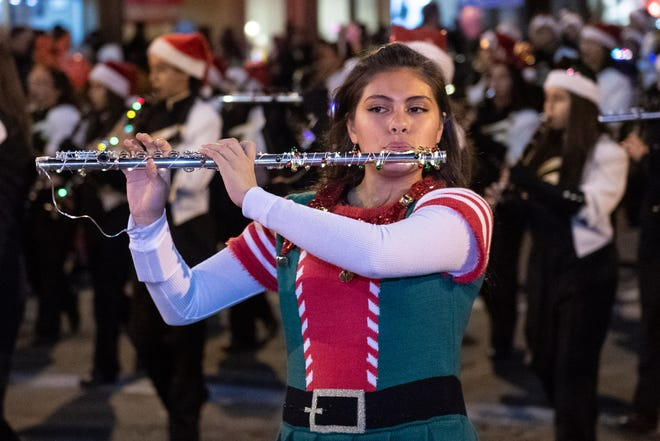 Golden West Band performs during the 74th annual Candy Candy Lane parade in Downtown Visalia on Monday, December 2, 2019.