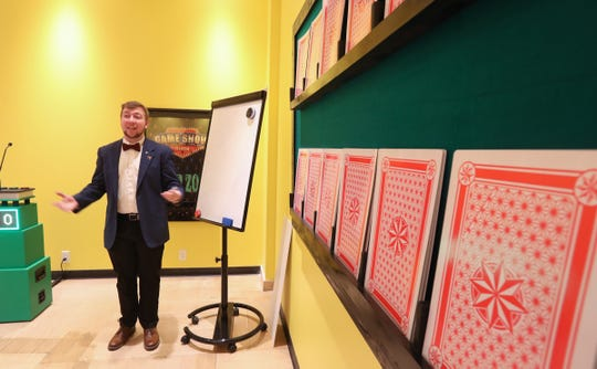 Game show host CJ von Essen shows a game at the new 'Game Show Room' location at the Palisades Center Mall in West Nyack on Tuesday, December 3, 2019.