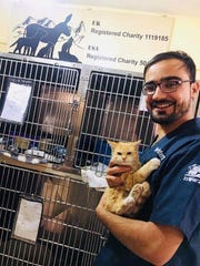 Sully the cat with a Nowzad clinic employee in Afghanistan.