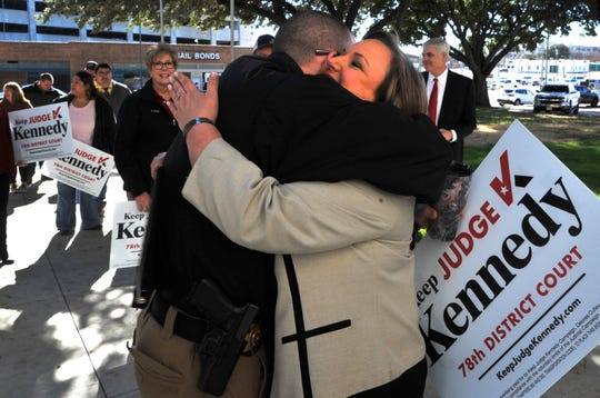 78th district courtroom judge, Meredith Kennedy received hugs and well-wishes after announcing she would be seeking to be elected judge of the 78th courtroom after being appointed the position by Texas governor Greg Abbott in early March of this year.