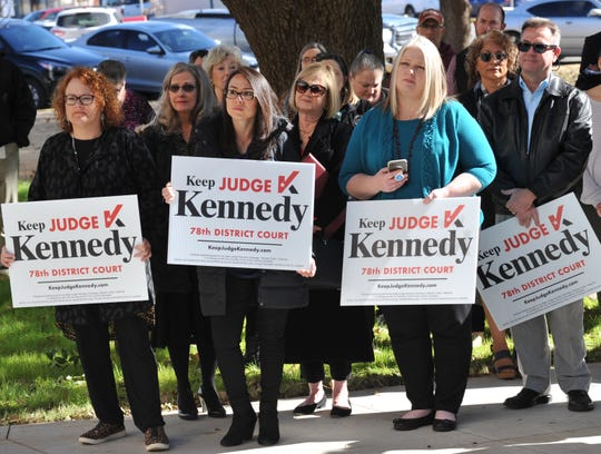 A medium sized crowd of supporters listened as 78th district courtroom judge, Meredith Kennedy announced that she would be seeking election for her position after being appointed judge in early March of this year.