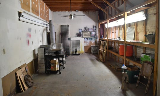A small workshop area within the large 7,500 square foot space that will house the expansion of The Burn Shop, a custom metal shop making signs, barbecue grill grates and more.