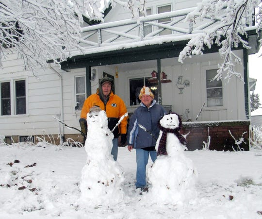 Susan Manzke built two snow people - one for Bob and one for herself - on the couple's 46th wedding anniversary.