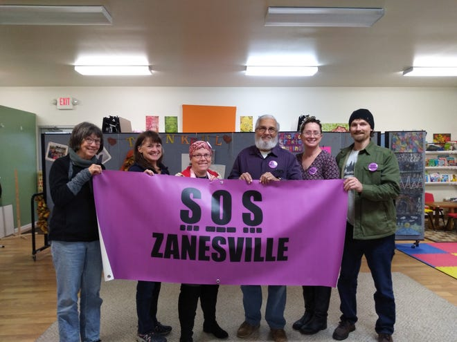 SOS Zanesville is a newly formed group whose goal is to serve as a distress signal for those who are in crisis due to issues such as homelessness. Pictured from left to right are SOS Zanesville and Zanesville Think Tank on Poverty members Marcia Hartman, Lesha Farias, Samantha Crawford, Steve Stewart, Wendy Tarr and Adam Binckley.