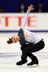 Russia's Anton Shulepov performs in the men free skating at the Grand Prix of Figure Skating 2019/2020 NHK Trophy in Sapporo on November 23.