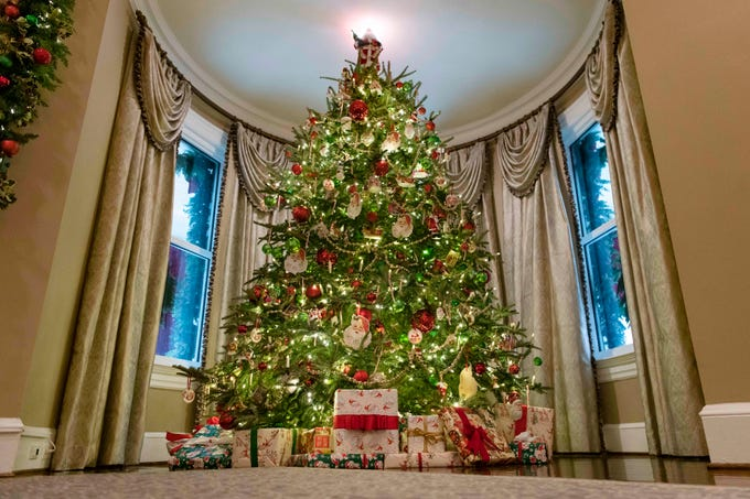 A 14 foot Christmas tree sits in the living room of the vice presidential residence at 1 Observatory Circle in Washington D.C. on Dec. 2, 2019.