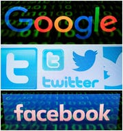 The Google, Twitter and Facebook logos
