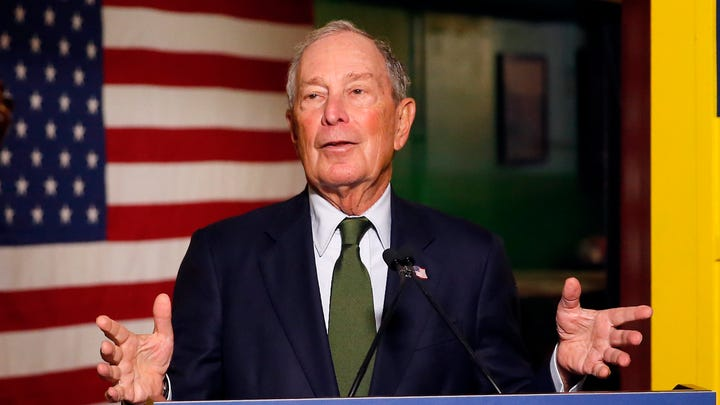 Democratic presidential candidate Michael Bloomberg speaks to the media in Phoenix on Nov. 26, 2019.