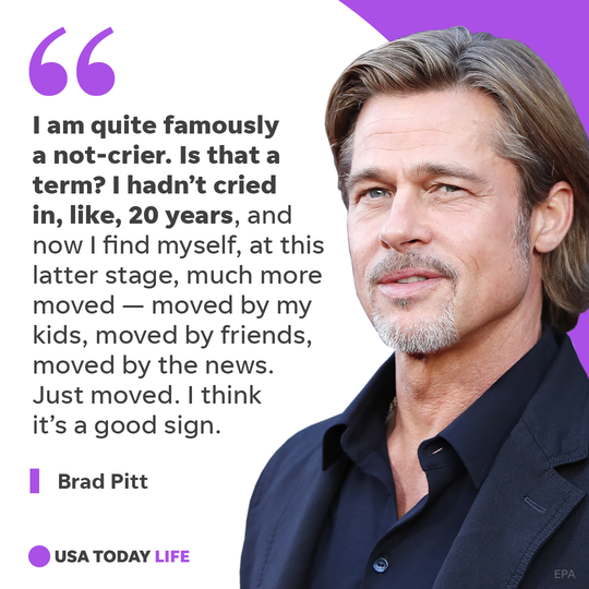 Brad Pitt opens up about crying, alcohol struggles and moving on.