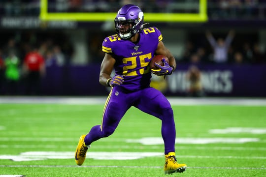 Running back Alexander Mattison has averaged 4.8 yards per carry during his rookie season with the Vikings.