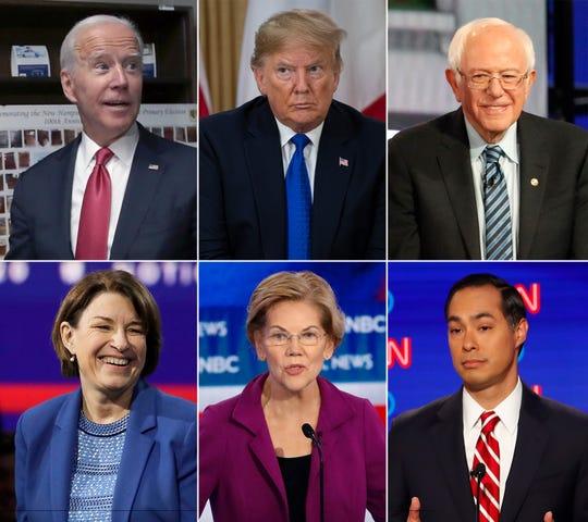 Politicians running in the 2020 presidential election, including Joe Biden, US President Donald Trump, Bernie Sanders, Amy Klobuchar, Elizabeth Warren and Julián Castro.