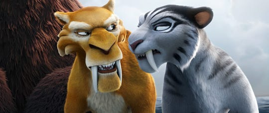 """Diego (Denis Leary) and Shira (Jennifer Lopez) in a scene from the animated motion picture """"Ice Age: Continental Drift."""" Credit: Blue Sky Studios/20th Century Fox [Via MerlinFTP Drop]"""