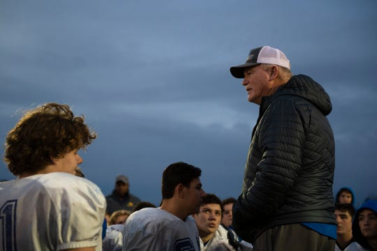 Wren High School coach Jeff Tate talks to the team after football practice Tuesday, Dec. 03, 2019.