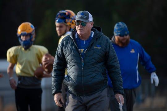 Wren High School coach Jeff Tate leads football practice Tuesday, Dec. 03, 2019.