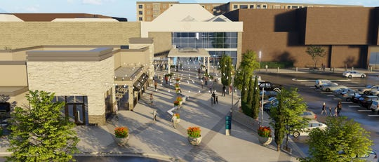 A rendering of the new proposed revisions to Monmouth Mall shows a new glass entrance to the mall and restaurant.