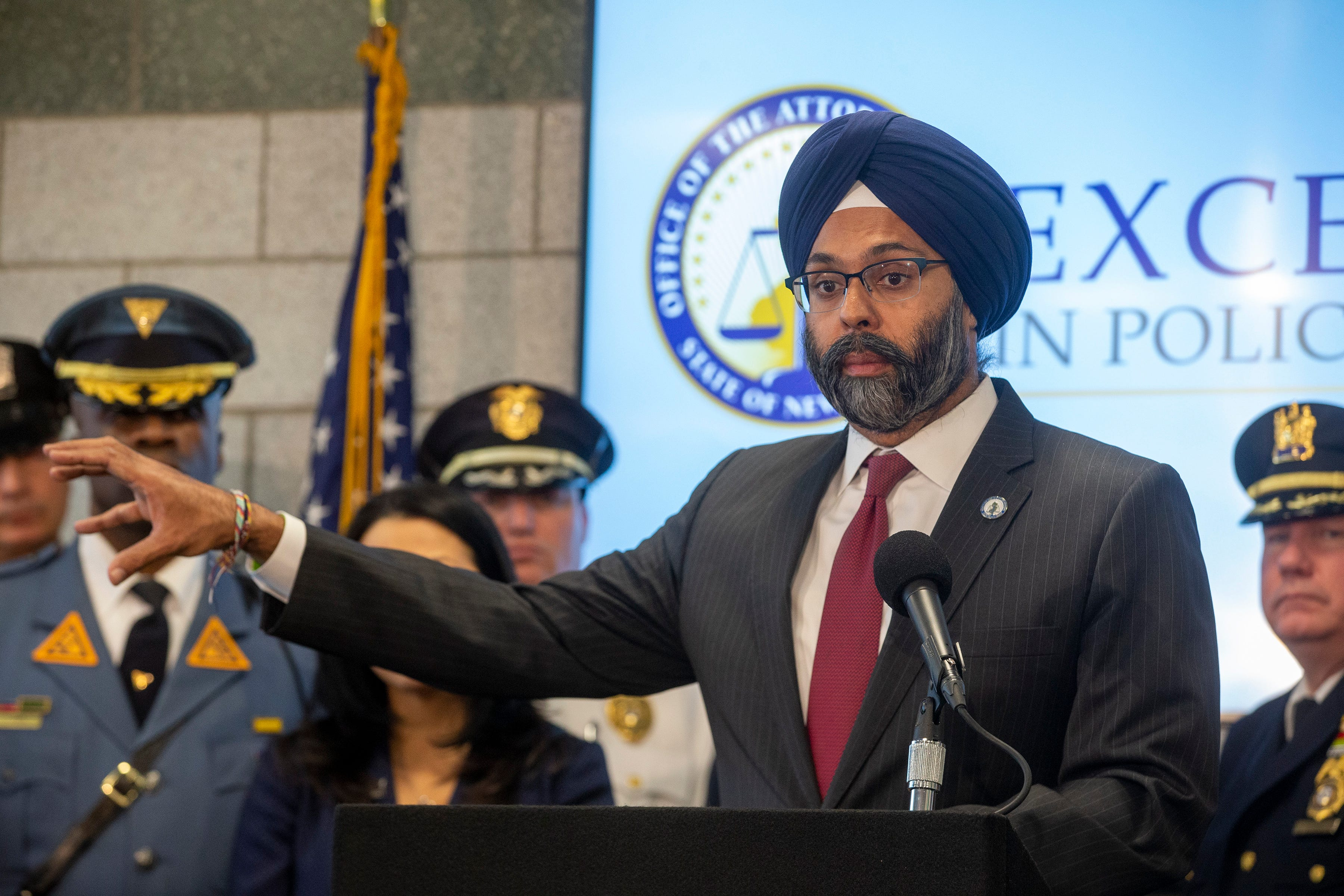 """Attorney General Gurbir S. Grewal announces """"Excellence in Policing"""" initiative to promote professionalism, accountability and transparency in law enforcement during a press conference at the New Jersey State Police Newark Troop D Station in Newark, NJ Wednesday, December 4, 2019."""