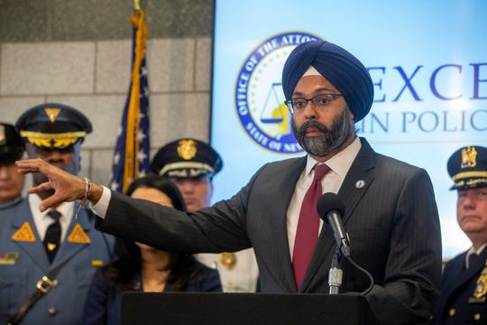 "Attorney General Gurbir S. Grewal announces ""Excellence in Policing"" initiative to promote professionalism, accountability and transparency in law enforcement during a press conference at the New Jersey State Police Newark Troop D Station in Newark, NJ Wednesday, December 4, 2019."