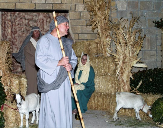 The Rev. Clyde Kieschnick, pastor of Zion Lutheran Church, takes the role of shepherd in his church's presentation of Journey to Bethlehem, which will be staged Saturday.