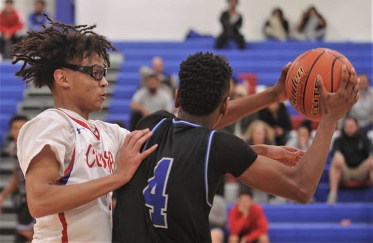 Cooper's Colin Reed, left, defends against Lubbock Estacado's Kreeland Avery in the second half. Estacado won 76-70 in the nondistrict game Tuesday at Cougar Gym.