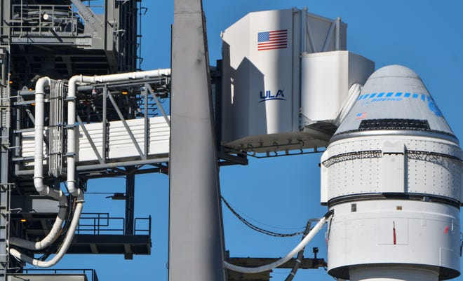 Boeing's Starliner capsule sits atop a United Launch Alliance Atlas V rocket at Cape Canaveral Air Force Station's Launch Complex 41. The capsule's launch is scheduled for no earlier than Dec. 20, 2019.
