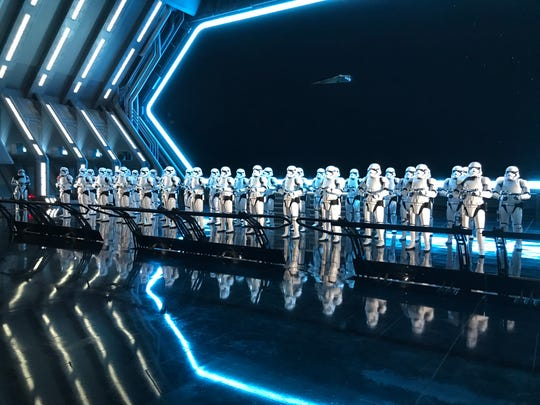 Fifty menacing First Order Stormtroopers await guests as they arrive in the hangar bay of a Star Destroyer as part of Star Wars: Rise of the Resistance at Disney's Hollywood Studios.