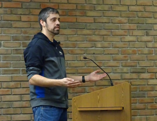 Kurt Fankhauser speaks against a proposal to extend the residency requirement for the city's service-safety director to a 20-mile radius during Tuesday's Bucyrus City Council meeting.