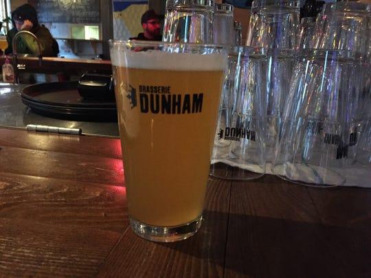 A pint of pilsner at Brasserie Dunham in Dunham, Quebec.