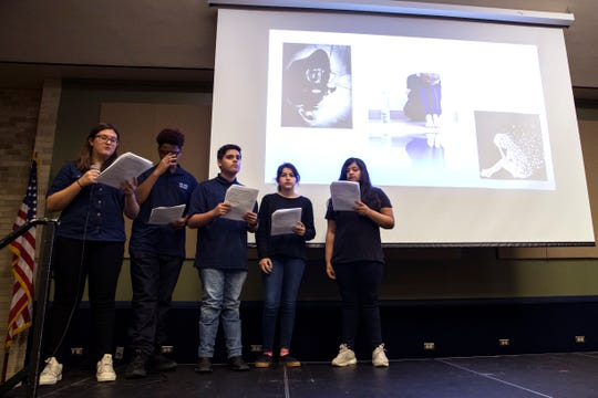 Collegiate High School students  present their project on teen depression and mental health at Del Mar College on Wednesday, December 4, 2019. The school participates in the Speak Up! Speak Out! civic education program sponsored by the University of Texas at Austin.