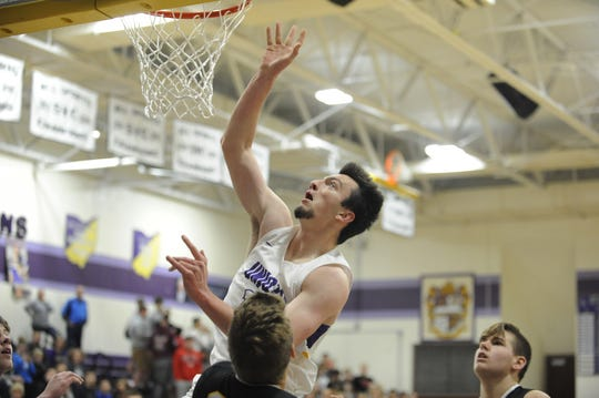 Unioto's Josh Lambert goes up for a layup during a 70-39 win over Miami Trace on Tuesday Dec. 3, 2019 at Unioto High School in Chillicothe, Ohio.