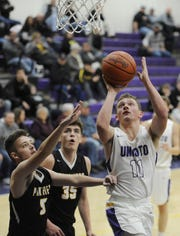 Unioto High School's Isaac Little goes up for a shot at the rim during a 70-39 win over Miami Trace on Tuesday Dec. 3, 2019 at Unioto High School in Chillicothe, Ohio.