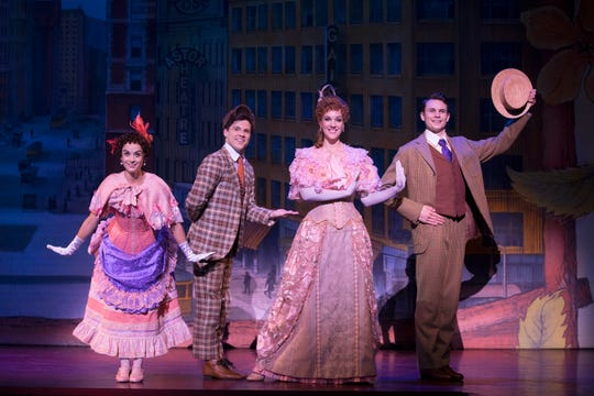 """Four of the major supporting cast members in the National Tour of """"Hello, Dolly!"""" The show is at the Aronoff Center through Dec. 15. Seen here are (from L) Chelsea Cree Groen (Minnie Fay), Sean Burns (Barnaby Tucker), Analisa Leaming (Irene Molloy) and Daniel Beeman (Cornelius Hackl)."""