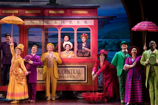 """Carolee Carmello, as Dolly Levi, is seen with the ensemble from the National Tour of """"Hello, Dolly!"""""""