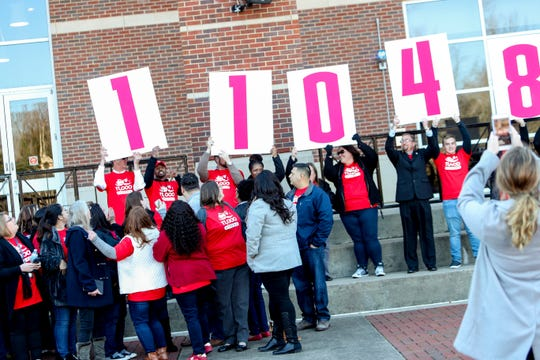 Staff flip up large cards to reveal the record enrollment numbers at APSU for admissions staff at Morgan University Center Plaza in Clarksville, Tenn., on Wednesday, Dec. 4, 2019.