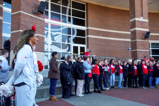 APSU cheerleaders and admissions staff stand in front of a crowd at the record enrollment announcement at Morgan University Center Plaza in Clarksville, Tenn., on Wednesday, Dec. 4, 2019.