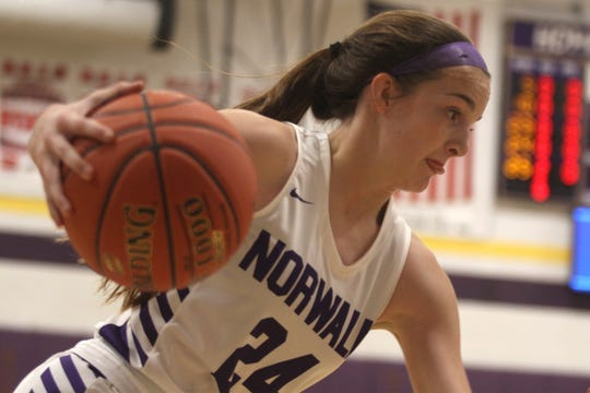 Norwalk sophomore Jocelyn Bice cuts toward the basket. Norwalk lost at home to Ballard 56-25 on Dec. 3.