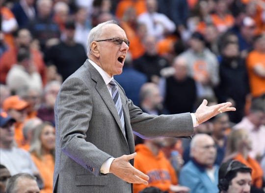 Dec 3, 2019; Syracuse, NY, USA; Syracuse Orange head coach Jim Boeheim argues a call in the first half against the Iowa Hawkeyes at the Carrier Dome. Mandatory Credit: Mark Konezny-USA TODAY Sports