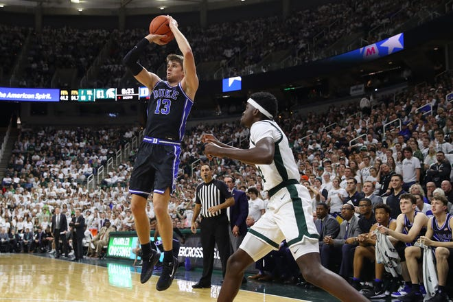 """Duke's Joey Baker (13) aims to be more of an """"all-around player"""" in his junior season with the Blue Devils. The Fayetteville native pointed to confidence and consistency as the keys to making that happen."""