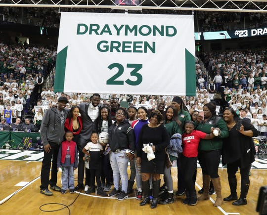 Draymond Green and family pose for photos, Tuesday, November 3, 2019 at the Breslin Center in East Lansing, Mich.