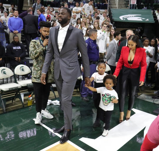 Draymond Green and his family arrive for the ceremony retiring his Michigan State Spartans number 23 during half time of the game against the Duke Blue Devils Tuesday, December 3, 2019 at the Breslin Center in East Lansing, Mich.