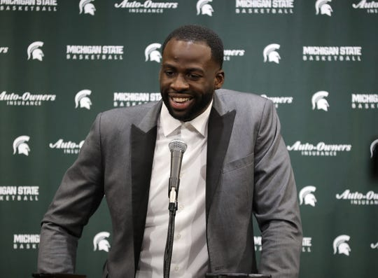 Draymond Green talked with reporters about having his number retired before the game against Duke Tuesday, December 3, 2019 at the Breslin Center in East Lansing, Mich.