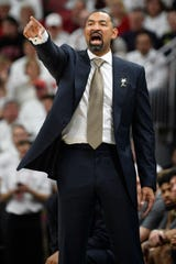 Dec 3, 2019; Louisville, KY, USA; Michigan Wolverines head coach Juwan Howard calls out instructions during the second half against the Louisville Cardinals at KFC Yum! Center.  Louisville defeated Michigan 58-43.  Mandatory Credit: Jamie Rhodes-USA TODAY Sports
