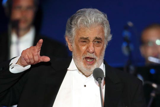 Opera singer Placido Domingo performs during a concert in Szeged, Hungary.